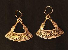 Vintage Toledo Spain Earrings 24K Gold-Plated Damascene Style Ornate Fan Shape