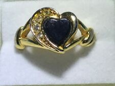 Avon - Gold-Toned Heart-Shaped Black Onyx and Rhinestone Ring - Size 7