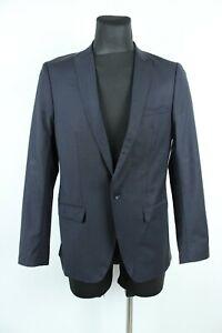 Zara Klassisch Wolle Dunkel Marineblau ein Knopf Blazer Herren Jacke Gr. 48 Eu M