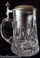 BIRRA BROCCA CRISTALLO Sammelkrug Vetro Boccale German Beer mug with pure tin lid + SB cu