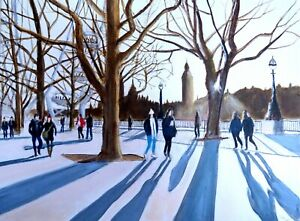 Northern Art Original painting - Afternoon shadows Embankment   by GaryHaigh