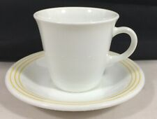 NEW YORK HILTON HOTELS Demitasse Cup Saucer White Gold Espresso Vtg Corning RARE