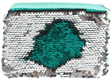 Green and Silver Reversible Sequin Purse Make up Zip Bag Case School Mermaid