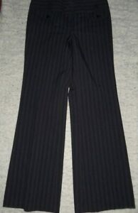 30/4 PREOWNED JET BLACK STRIPE NEW LOOK POLYESTER TROUSERS 10