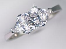 1 ct Princess Ring Side Trillions Top BrilliantCZ Imitation Moissanite Size 8