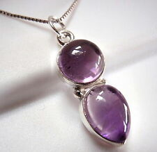 Amethyst Double Gem 925 Sterling Silver Necklace Round Teardrop New