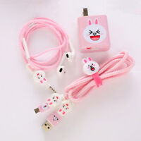 New cable winder charger stickers cartoon usb data cable protector set BDAU