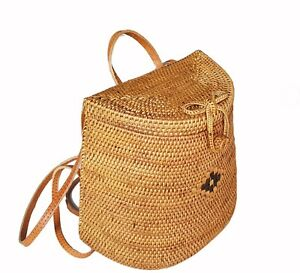 Hand Woven Rattan Backpack Bag, Unique Backpack