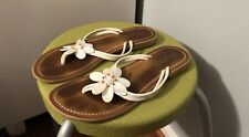 Roxy Size 9 Womens Summer Slip On Flat White Flower Leather Sandals Flip Flop