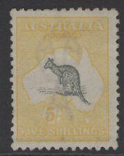 AUSTRALIA SG42 1918 5/- GREY & YELLOW MTD MINT