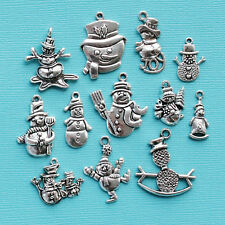 Snowman Charm Collection 12 Tibetan Silver Tone Holiday Charms FREE Shipping E98