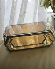 stunning new smoked glass faceted JEWELLERY BOX metal studded frame felt base
