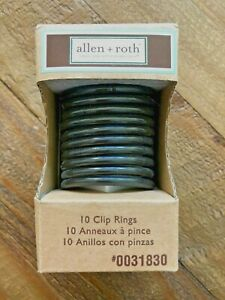 allen + roth 10 Curtain Clip Rings - Aged Bronze - Fits 1 1/2 inch Diam Rod NEW