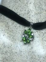 Vintage Green Chrome Diopside Deco Choker Necklace 925 Sterling Silver