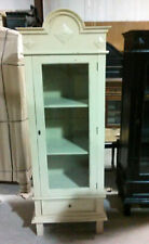 Arch Top Cabinet with Glass Door and Drawer - Cream Finish