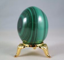 41MM Tall MALACHITE EGG - CONGO - GOLD NICKEL STAND INCLUDED
