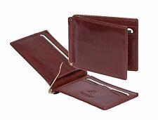 Para Hombre Marrón Cuero Billetera delgada Billetes Dinero Clip Dólar de caja de regalo de tarjetas de crédito