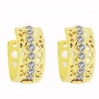 Elegant 18 k Gold Plated Jewellery Women White Zircons Hollow Hoop Earrings E891
