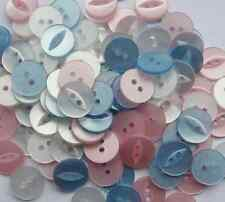 NEW ASSORTED PACK OF 100 X  FISHEYE BABY BUTTONS SIZE 18 (11mm) PINK WHITE BLUE