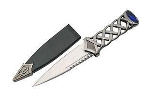 Celtic Scottish Highlandwear Sgian Skean Dubh Dirk Dagger 7.25 Knife Blue Jewel