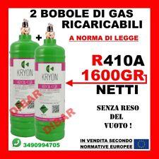 R410A GAS REFRIGERANTE 2 BOMBOLE RICARICABILI DA 1 LITRO 1600GR NETTO