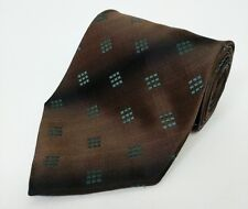 HUGO BOSS Silk Tie Black Brown Dots Square Designer Italy Wedding Prom RRP £70