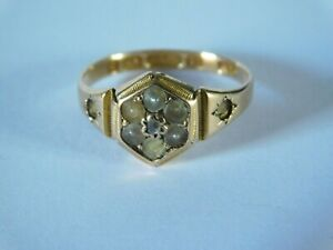 ANTIQUE 15ct GOLD DIAMOND & PEARL RING