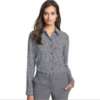 Theory Cully Herringbone Button Down Blouse, Size M