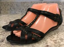 Indigo by CLARKS Black Leather Strappy Gladiator Low Wedge Sandals Womens - 8 M