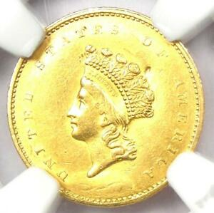 1855 Type 2 Indian Gold Dollar (G$1 Coin) - Certified NGC AU Details - Rare!