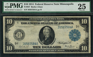 1914 $10 Federal Reserve Note Minneapolis FR-937 - Graded PMG 25 Very Fine