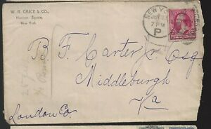 1891 W R Grace & Co, NY to   Middleburg Va Cover a