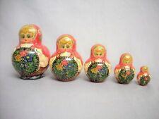 2000 Hand Painted 5 Russian Nesting Dolls Matryoshka Family Fertility Signed Set