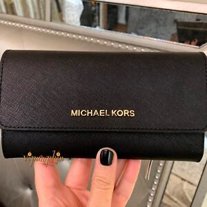 Michael Kors Jet Set Travel Large Trifold Leather Wallet Black