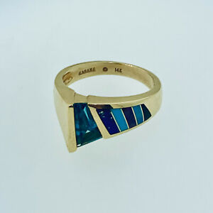 RARE 14K GOLD KABANA BLUE TOPAZ  RING