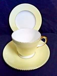 Wedgewood Trio - Cup Saucer Tea Plate - yellow and gold