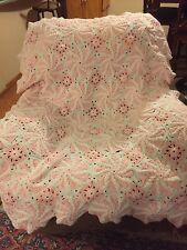 pink afghan, crochet, hand made, Peppermint pattern