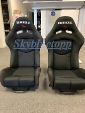 BRIDE GIAS V1 Black Cloth Fiberglass Shell Racing PAIR Seats Bucket Slider Rail