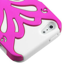 iPHONE 5 5S SE - HARD & SOFT RUBBER DUAL HYBRID FUSION CASE PINK WHITE BUTTERFLY