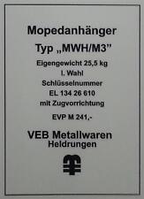 Typenschild für Simson Mopedanhänger / Transporthänger MWH/M3 , Typenaufkleber