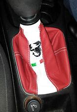 cuffia cambio su misura FIAT GRANDE PUNTO EVO pelle rossa ricamo Made in Italy