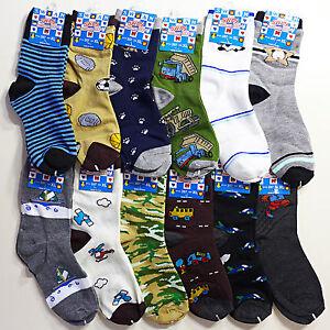 NEW 12 Pairs Packs Size 1-14 S/M/L/XL KIDS/BOYS Design Patterned Crew Socks
