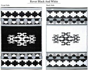 GREEN DECORE ROVER Rug 6'x9' Lightweight Outdoor Reversible Plastic Black White