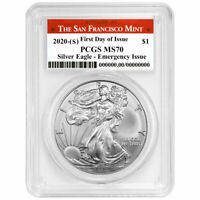 2020 (S) $1 American Silver Eagle PCGS MS70 Emergency Issue FDOI San Francisco L