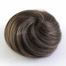 1x Women Clip-on Dish Hair Extension Ponytail Hairpiece Scrunchie Light Brown EE