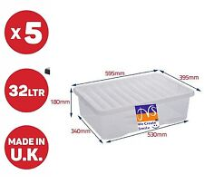 WHAM 5 x 32 LITRE UNDERBED PLASTIC STORAGE BOX!! CLEAR BOX WITH CLEAR LID CHEAP