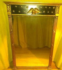 Stroupe Mirror 25 X 36 Federal Style 765 Eagle/Stars, Black/Gold Original Glass