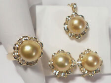golden South Sea pearl set(ring,earrings,pendant),diamonds,solid 14k yellow gold