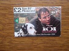 BT PHONECARD SEALED £2 101 DALMATIONS WALT DISNEY JEFF DANIELS & PONGO JUNE 1998