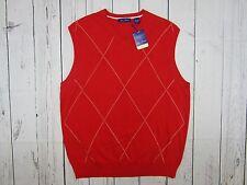 Alan Flusser Sweater Vest Large Red  Argyle Nwt